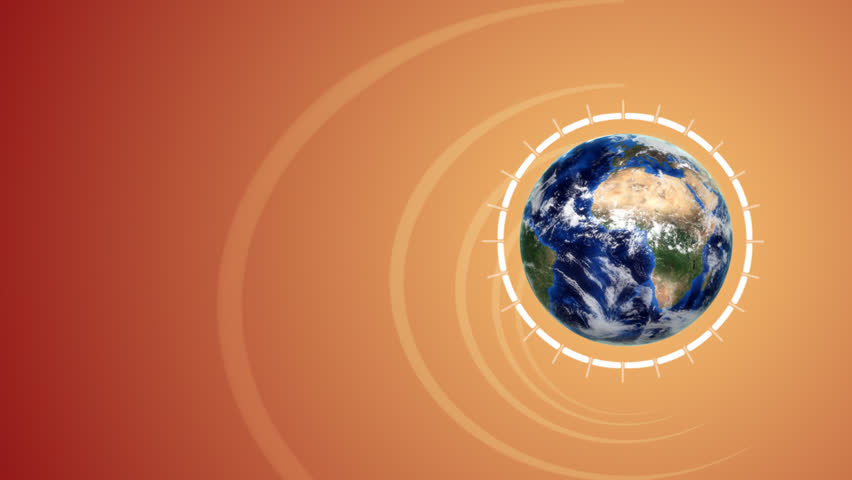Broadcast news opening animation with orbiting 3d globe and animated background.
