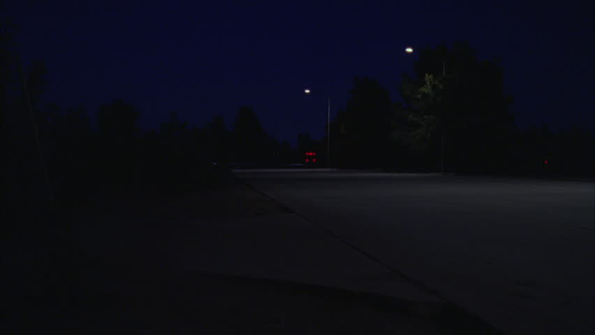 Night Pan right w older pick up truck passes quiet wide Raked right rural highway Green trees | Shutterstock HD Video #19200742