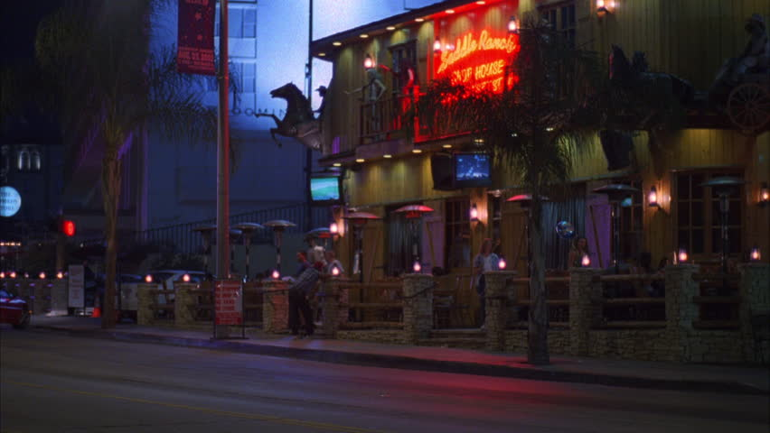 Night up left hungry i club strip club font color red b name can night pan left from saddle ranch bar restaurant sunset blvd city street traffic los angeles street aloadofball Choice Image