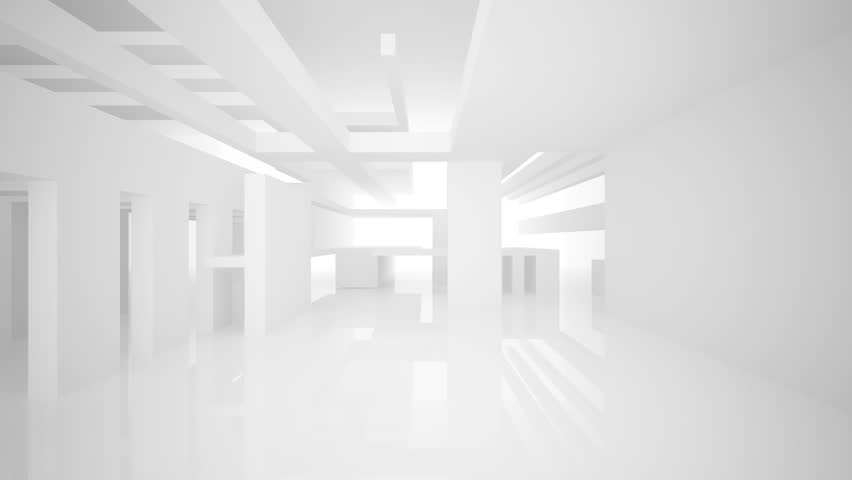 Abstract white interior. 3D animation.. 3D rendering. Part 1
