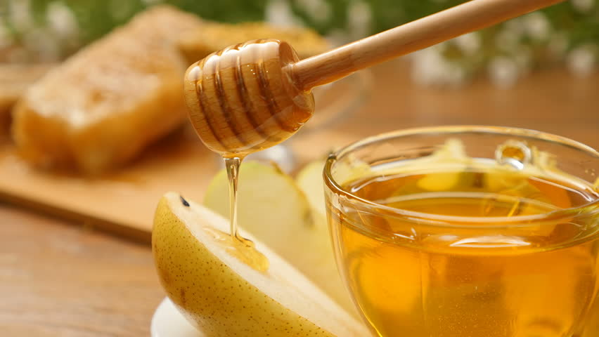 Honey Pouring On Pear From The Honeyspoon No 11 5 4k Stock Video Clip