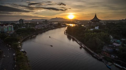 SARAWAK - JULY 15: A 4K footage of beautiful sunset with the background view of Sarawak State Legislative Assembly and Waterfront on July 15, 2016 in Sarawak.