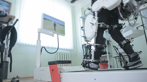 Medical walking robot. Rehabilitation, rehab, remediation for people with feet disease.