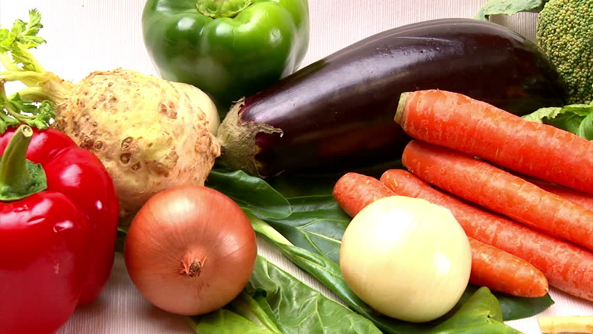 Vegetables, various, camera dolly. Studio shot. Healthy food.