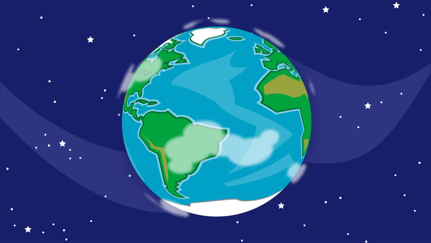 A cartoon spinning Earth. This animation is a seamless loop.