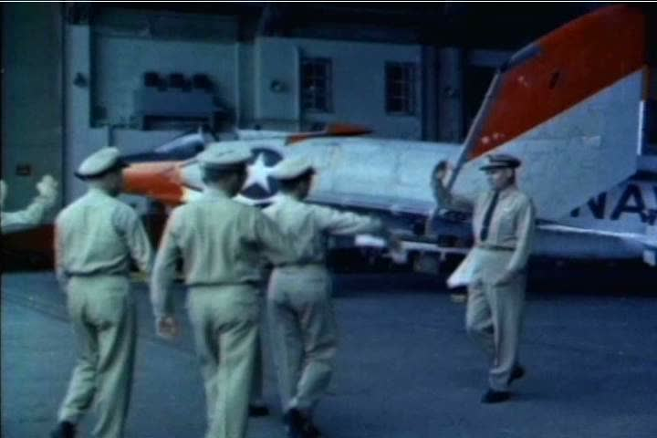 The armament systems of several fighter jets are tested at the US Naval Test Pilot School in 1959. (1950s)
