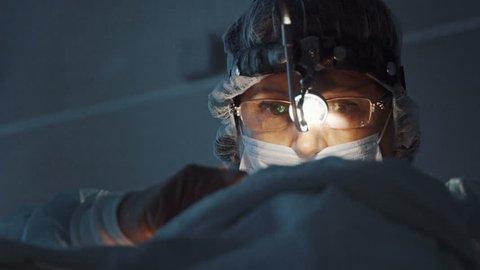 Surgeon close up face.