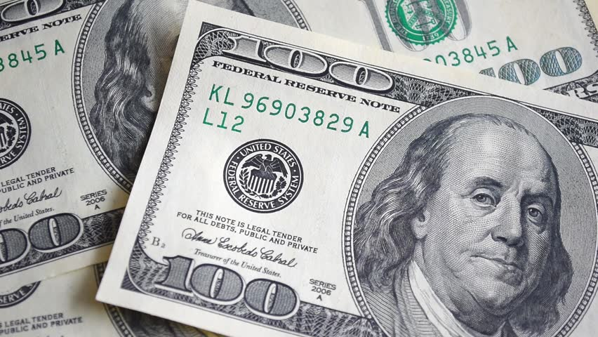 Dollar bills, money background. Dollars money set with count to bills of one hundred dollars. Portrait of George Washington closeup on the bills for a hundred dollars. Dollars, money close up. | Shutterstock HD Video #19409800