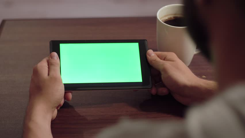 The tablet in the hands of the screen movement hromakey image | Shutterstock HD Video #19440892