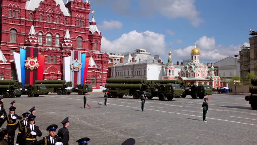 MOSCOW - MAY 9: Rockets motorcades ride on Red square at Victory Parade on May 9, 2011 in Moscow, Russia.