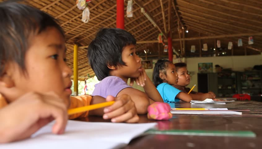 KO CHANG, THAILAND - FEBRUARY 7: Unknown children in lesson at school on