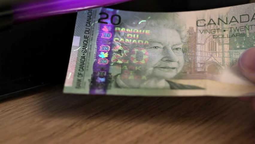 Canadian Dollars Under Uv Light