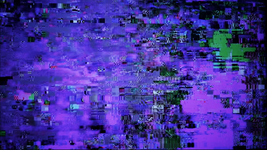 Digital glitches artifacts on TV screen.