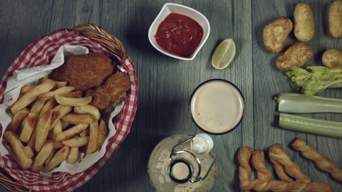 4k Traditional Irish Fish and Chips with Guinness, Taking Fish