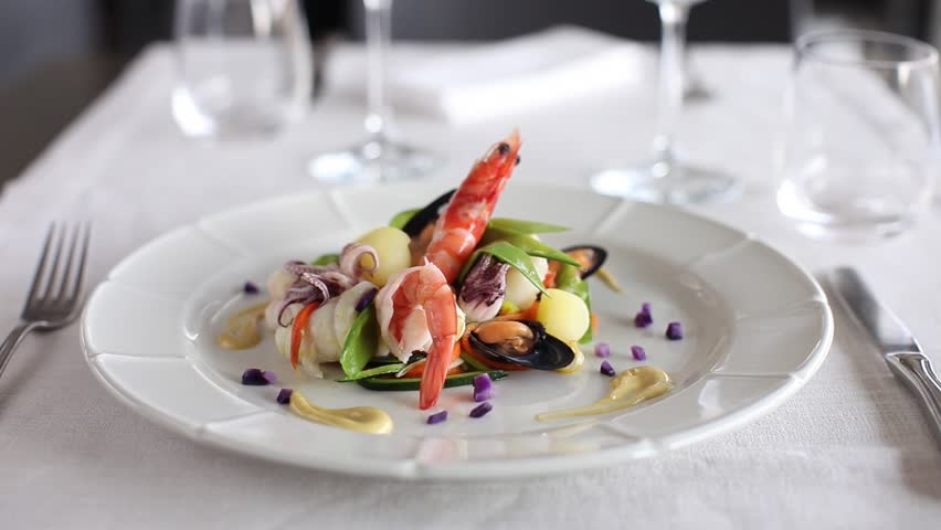 Prawn with octopus, vegetables and mussels. 360 rotation food
