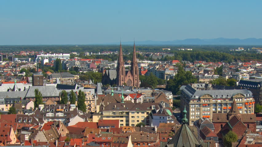 Strasbourg, Top View, Red Roofs Of Houses, Cars   HD Stock Video Clip