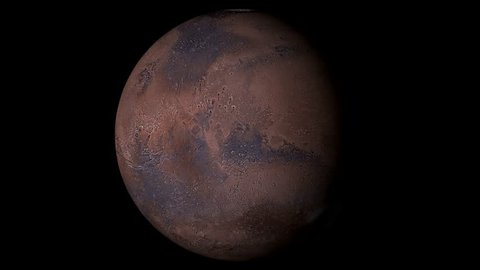 Mars Rotating, The Mars Spinning, Full Rotation, Seamless Loop - Realistic Planet Turning 360 Degrees on Solid Black Background