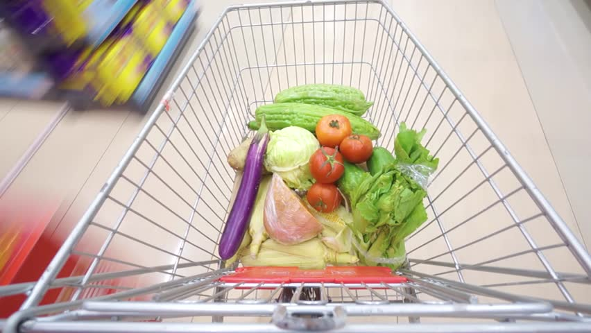 Shopping cart in supermarket shopping time lapse  | Shutterstock HD Video #19624642