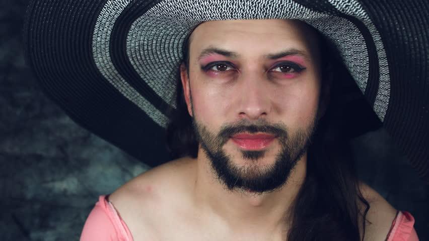 4k LGBT Shot of Transvestite Happy Man Dresses as Woman Kissing
