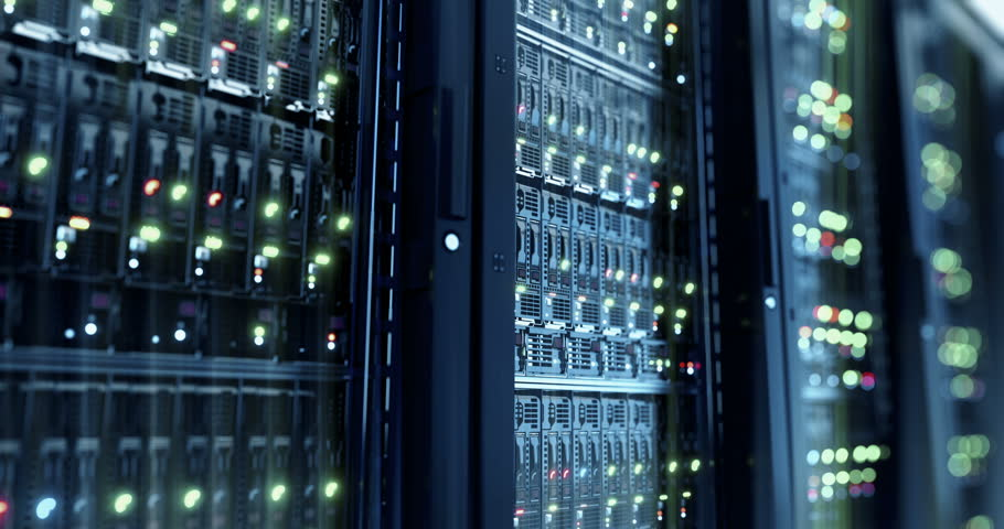 Servers close up.  Modern datacenter. Cloud computing. Loopable 8k 4k UHD Server in datacenter. Cloud computing data storage 3d rendering. 8k 4k closeup loopable animation