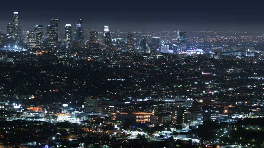 Video Stock A Tema Los Angeles Skyline Downtown Night 100 Royalty