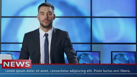 Male News Presenter in Broadcasting Studio. Shot on RED Cinema Camera in 4K (UHD).