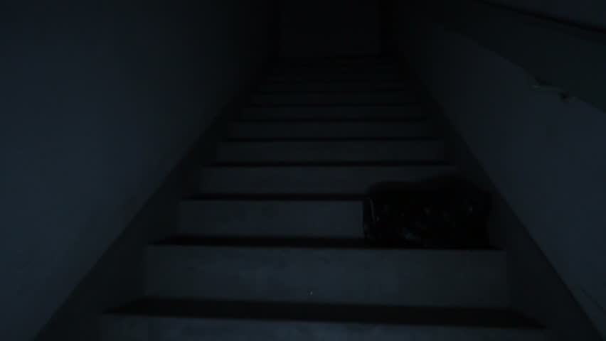 Climbing spooky stairs in darkness. Going up dark and dangerous stairs in creepy stairwell alone. Smooth movement floating up fire stairs with no light. | Shutterstock HD Video #19754914