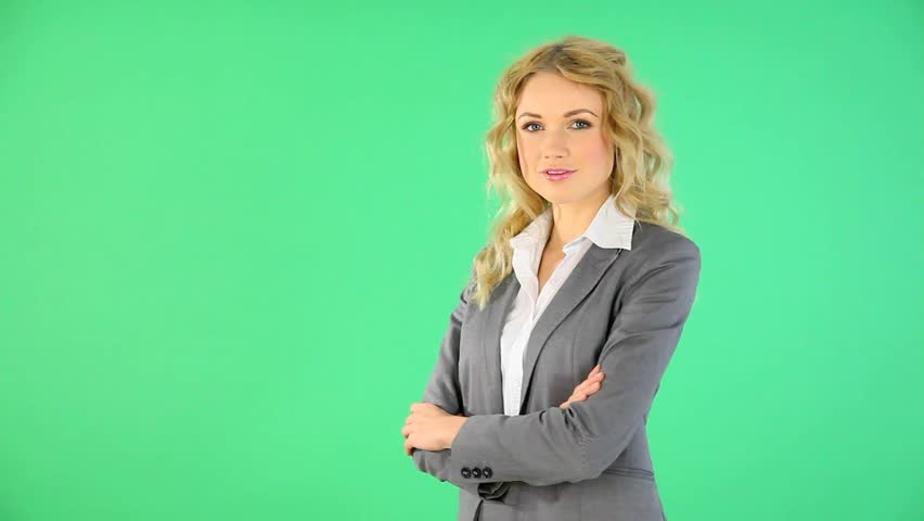 Smiling businesswoman presenting product