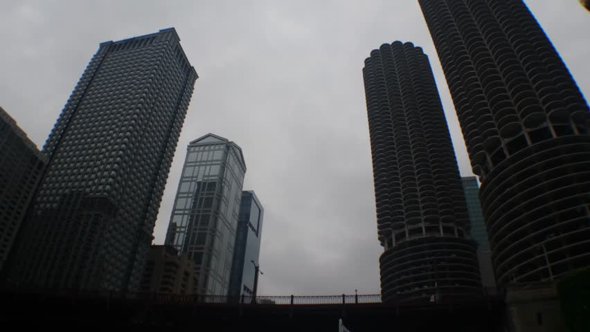 Chicago, Illinois - July, 2016 - Looking up at the high rise buildings in