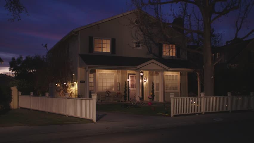 Dusk Nice Light Yellow 2 Story Wood House, French Paned Windows, Vinyl  Picket Fence