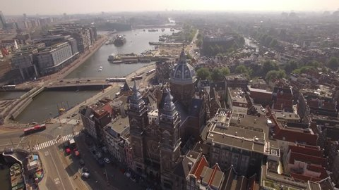 Aerial. The Basilica of Saint Nicholas. Old Centre district of Amsterdam. Netherlands in 4K.  The city's major Catholic church.