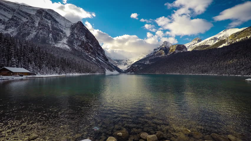 Lake Louise Time Lapse on a bright day in Banff National Park, Alberta, Canada