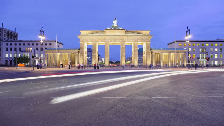 Brandenburger Tor Timelapse 1080p HD (Brandenburg Gate), famous landmark in Berlin, Germany