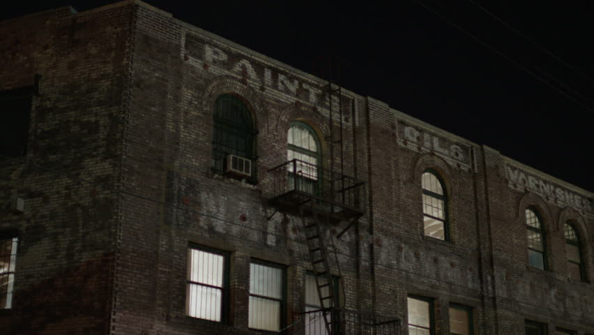 Old Creepy Ruins Of The Old Hotel At Night Stock Footage ...  Old Creepy Ruin...