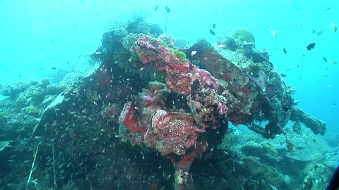 Ocean scenery B17, circle around gun turret and fuselage, on wreckage, HD, UP18430