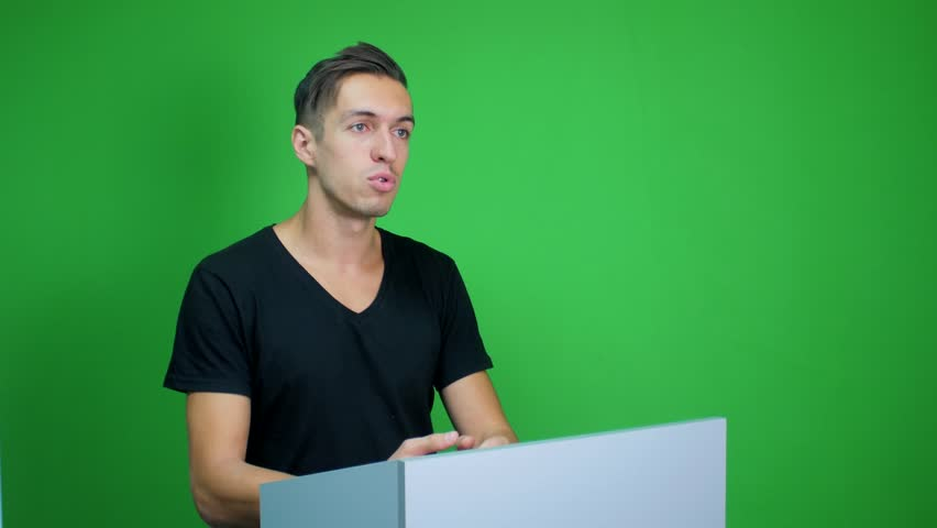 Man talking at the podium at green screen background | Shutterstock HD Video #19868992
