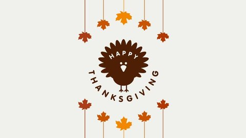 Happy Thanksgiving Day Typographic Animated Design template. Thank you greeting card template. Background full of branches and hanging maple Leaves. Happy Thanksgiving banner