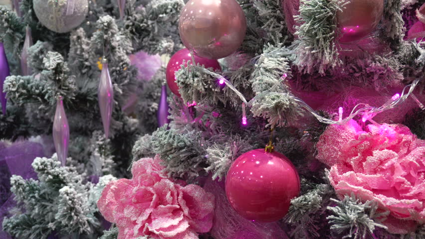 Beautiful Bright Pink Ornament Vibrant On The Christmas