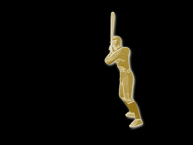 Animation of a baseball player hitting a ball