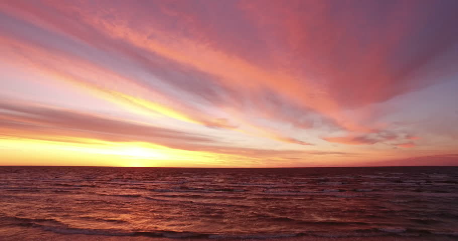 Sunset over the sea. The video was filmed in 4K with drone. #20014762