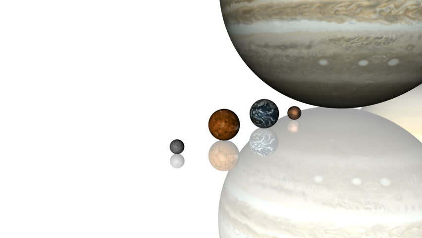 Solar System Lineup. The planets of the solar system (including Pluto) lined up on a white, reflective surface. Planets are sized accurately relative to each other based on NASA data.
