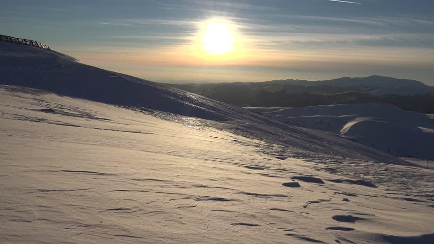 4K Blizzard in Mountains at Sunset, Winter View, Alpine Landscape, Ski Resort    Shutterstock HD Video #20048452
