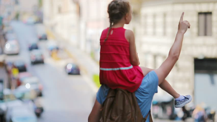 Family in Europe. Happy father and little adorable girl in Rome during summer italian vacation | Shutterstock HD Video #20059132