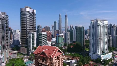 KUALA LUMPUR, MALAYSIA - OCT 2, 2016 : View of Petronas Twin Tower in Kuala Lumpur. This is aerial view take by drone.