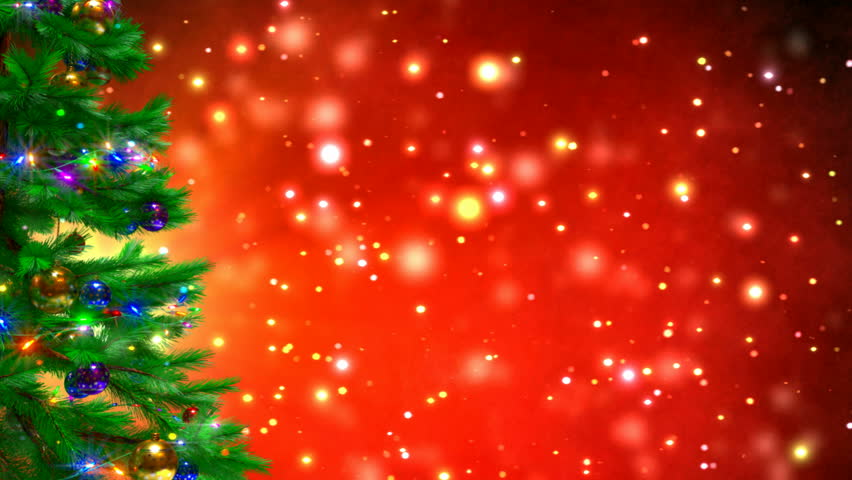 Red Christmas Background With Xmas Tree And Gifts: Christmas Tree On Red Bokeh Stock Footage Video (100