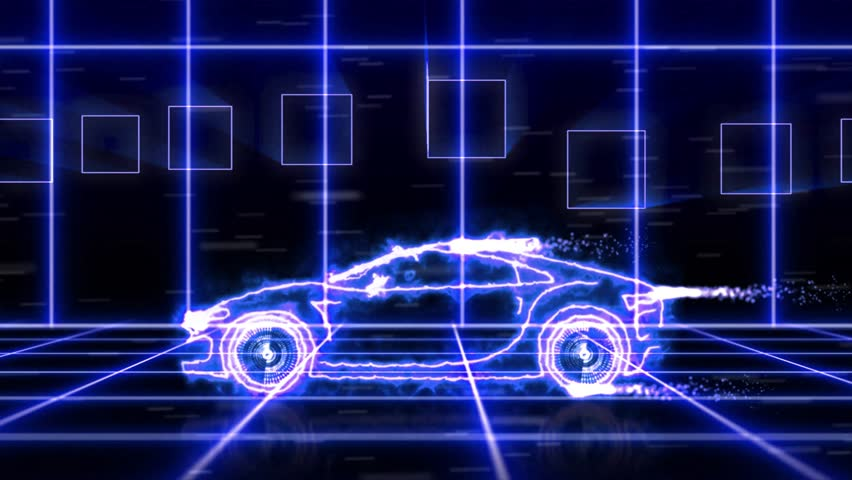 abstract animation of blue futuristic super car made with light beam wireframes on futuristic city background