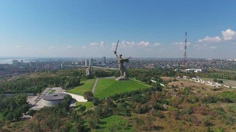 VOLGOGRAD, RUSSIA - AUGUST 14, 2016: Aerial view on monument of Motherland Calls in Mamayev Kurgan memorial complex in Volgograd, Russia, 4k