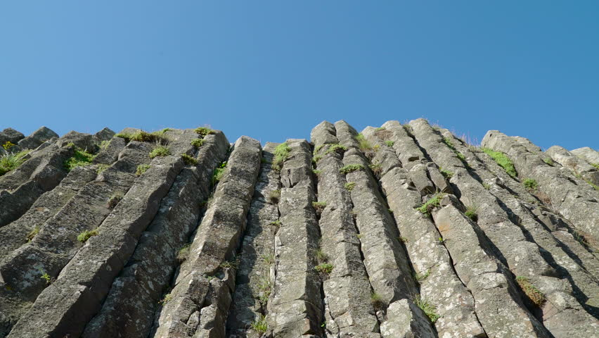 Closer look of the vertical rock formation in Giants Causeway in the Northern Ireland