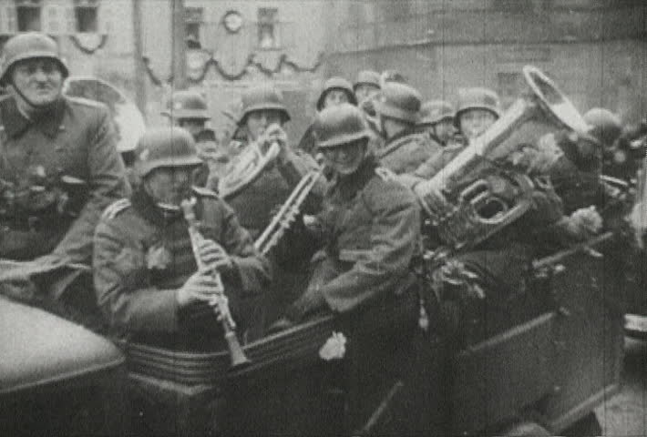 EUROPE - CIRCA 1942-1944: World War II, Nazi Soldier Musicians Parade