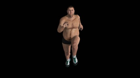 fat man morph into bodybuilding while running ,Alpha Channel